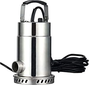 RainBro Oil Free Stainless Steel Submersible Utility Pump, Water Pump, 1/2 HP, 30ft. Power Cord, Model# SUP050