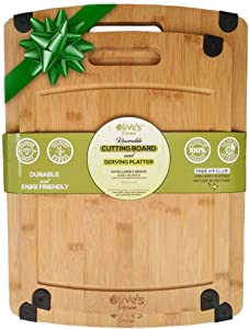 Olive's Kitchen Organic Bamboo Cutting Board Set of 2 - Reversible Extra Large & Medium - Deep Juice Grooves - Non-Slip Grips - Eco-Friendly - Harder than Wood -With Handle