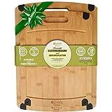 Olive's Kitchen Organic Bamboo Cutting Board Set (2 Pack) - Reversible Bamboo Cheese Board – Medium & X-Large Bamboo Cutting