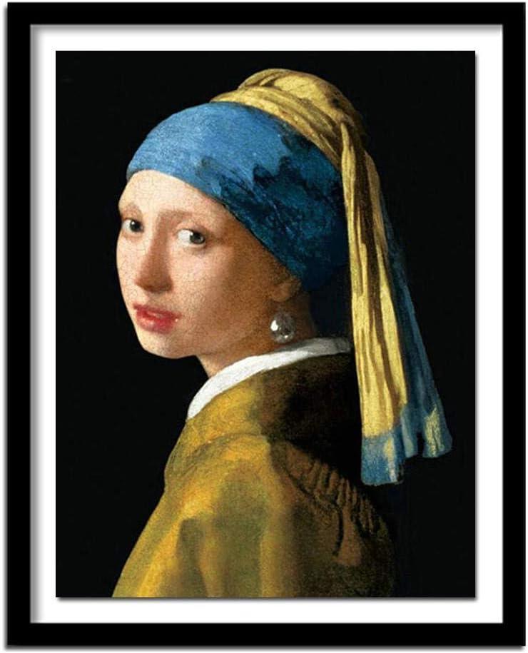 Diamante bordado vermeer chica con collar de perlas diy diamante pintura full square rhinestones decoración-Diamante redondo_Los 40x30cm