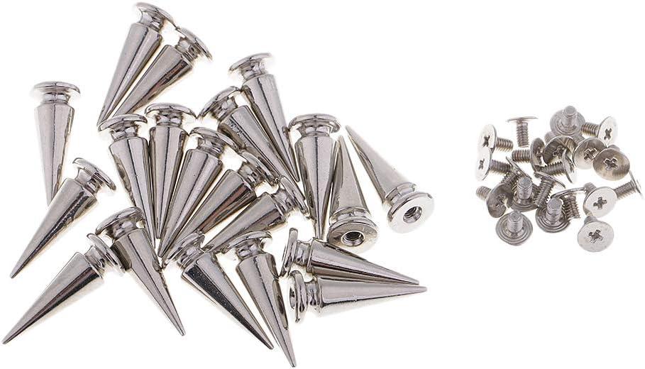 10 x 25 mm Plata IPOTCH 20 Piezas Remache de Cono Punk Tachuelas Studs Bot/ón de Metal Hebilla para Coser
