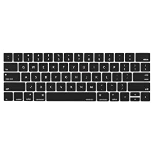 MOSISO Keyboard Cover Compatible Newest MacBook Pro with Touch Bar 13 Inch and 15 Inch (A1989 / A1706, A1990 / A1707) 2018 2016 2017 Release with Touch ID, Black