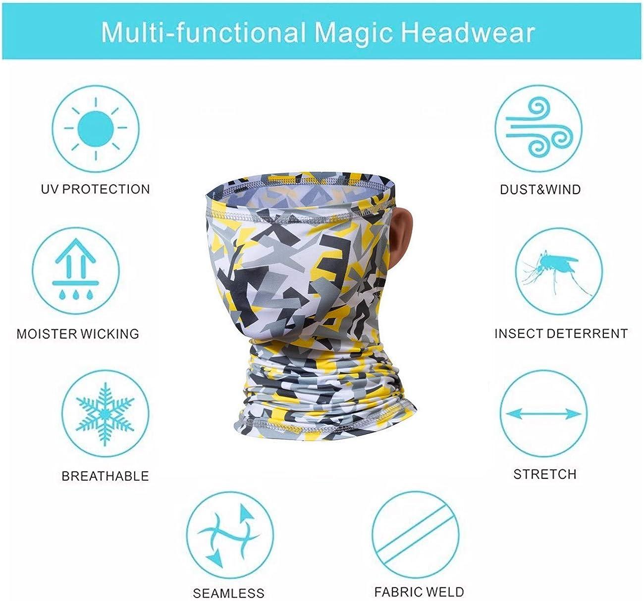 Sllrrka Face Cover Neck Gaiter Scarf Bandana Ear Loops Headband Headwrap for Men Women Multifunctional
