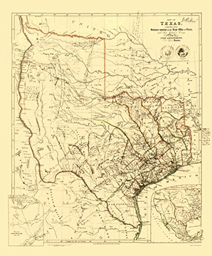 Republic of Texas – Arrowsmith 1841-23 x 27.78 – Glossy Satin Paper