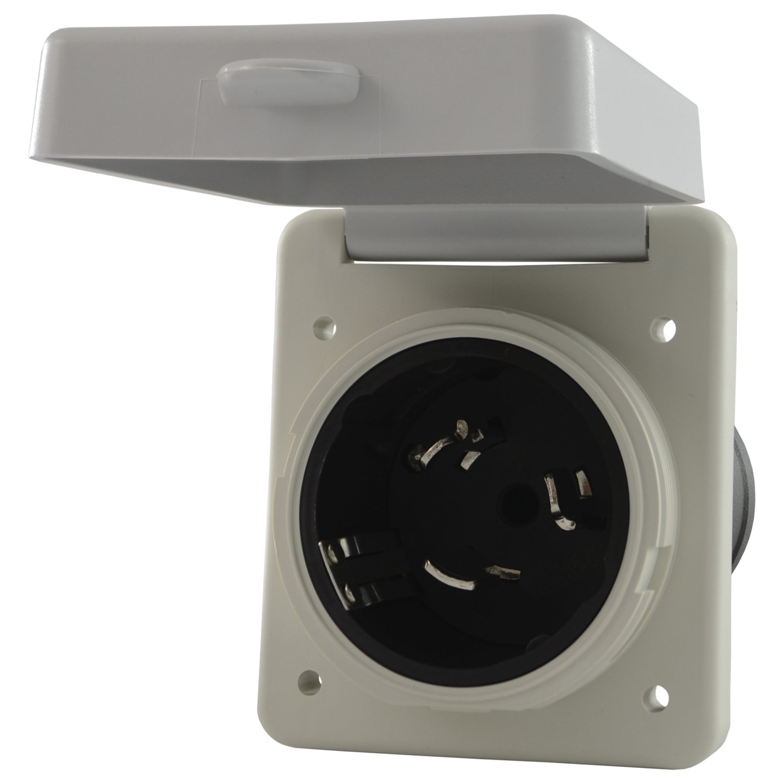 Conntek 80855-SQWT: 50 Amp RV & Marine Locking Style Square Housing Inlets by Conntek