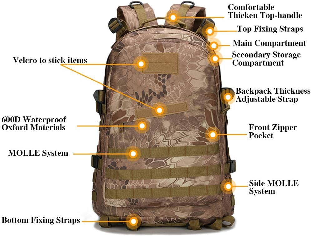 BAGZY Sac /à Dos Style Militaire 40L Sac /à Dos Tactique Molle Grande Capacit/é pour Randonn/ée Camping Trekking Chasse P/êche