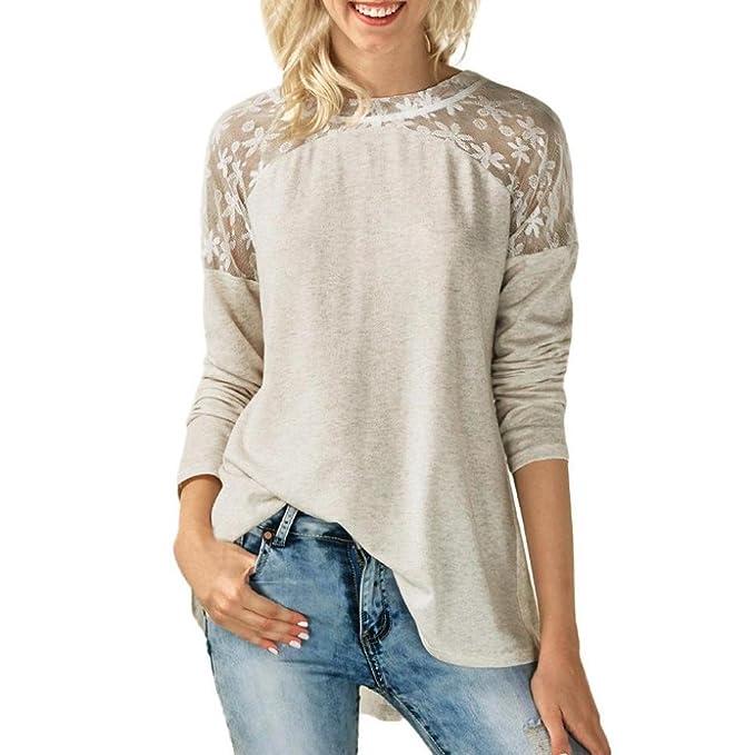Logobeing camiseta Mujeres Cuello Redondo Encaje Manga Larga Blusa Bowknot Tops Loose Camiseta (S,