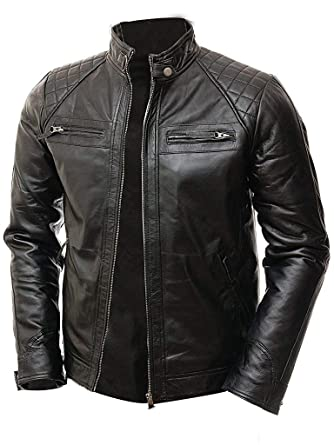 ef5af12fe4 Abbraci Men Moto Biker Vintage Shade Cafe Racer Quilted Motorcycle Padded  Shoulder Wax Real Lambskin Leather Jacket (X-Small, Black) at Amazon Men's  ...