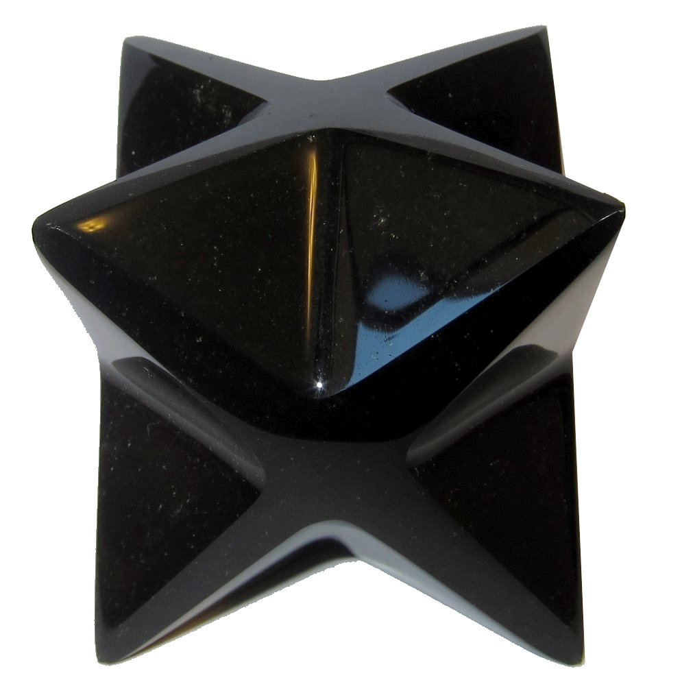 Obsidian Polygon Black 02 Big Merkaba Star of David Sacred Spiritual Stone Crystal 4'' (2.3'')