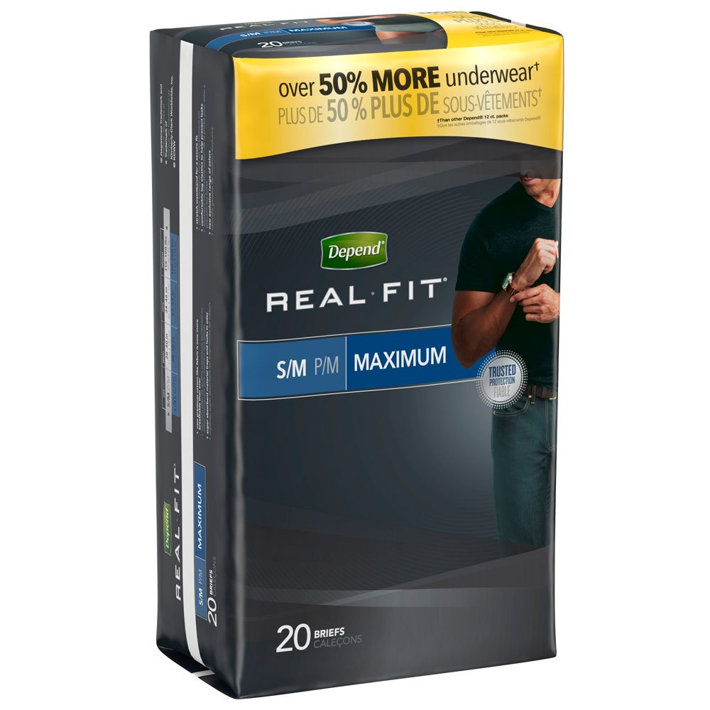 Amazon.com: Depend Real Fit for Men Briefs, Large/XL, Case/36 (2/18s): Health & Personal Care