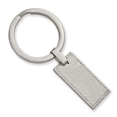 Llavero rectangular de acero inoxidable pulido y con textura ...