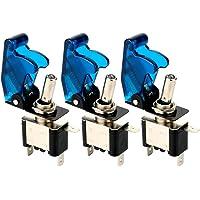 Gebildet 3 pièces Interrupteur à Bascule DC12V 20A, avec Capuchon étanche + LED Bleue, SPST Métal Interrupteur à Levier, on/Off 2 Positions 3 Broches, Utilisé pour la Voiture Auto Camion Bateau