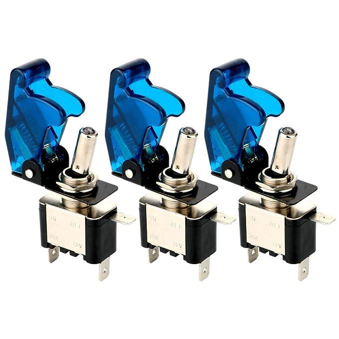 LED Cover Interruttore a Levetta Unipolare in Metallo 12V 20A Luce LED Blu Cover KINYOOO 3 X LED Blu Interruttore a levetta LED Luci ON//OFF Switch