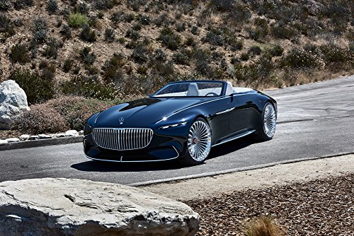 Mercedes Benz Maybach 6 Cabriolet Vision  2017  Car Print On 10 Mil Archival Satin Paper Black Front Side Static View 24 X36