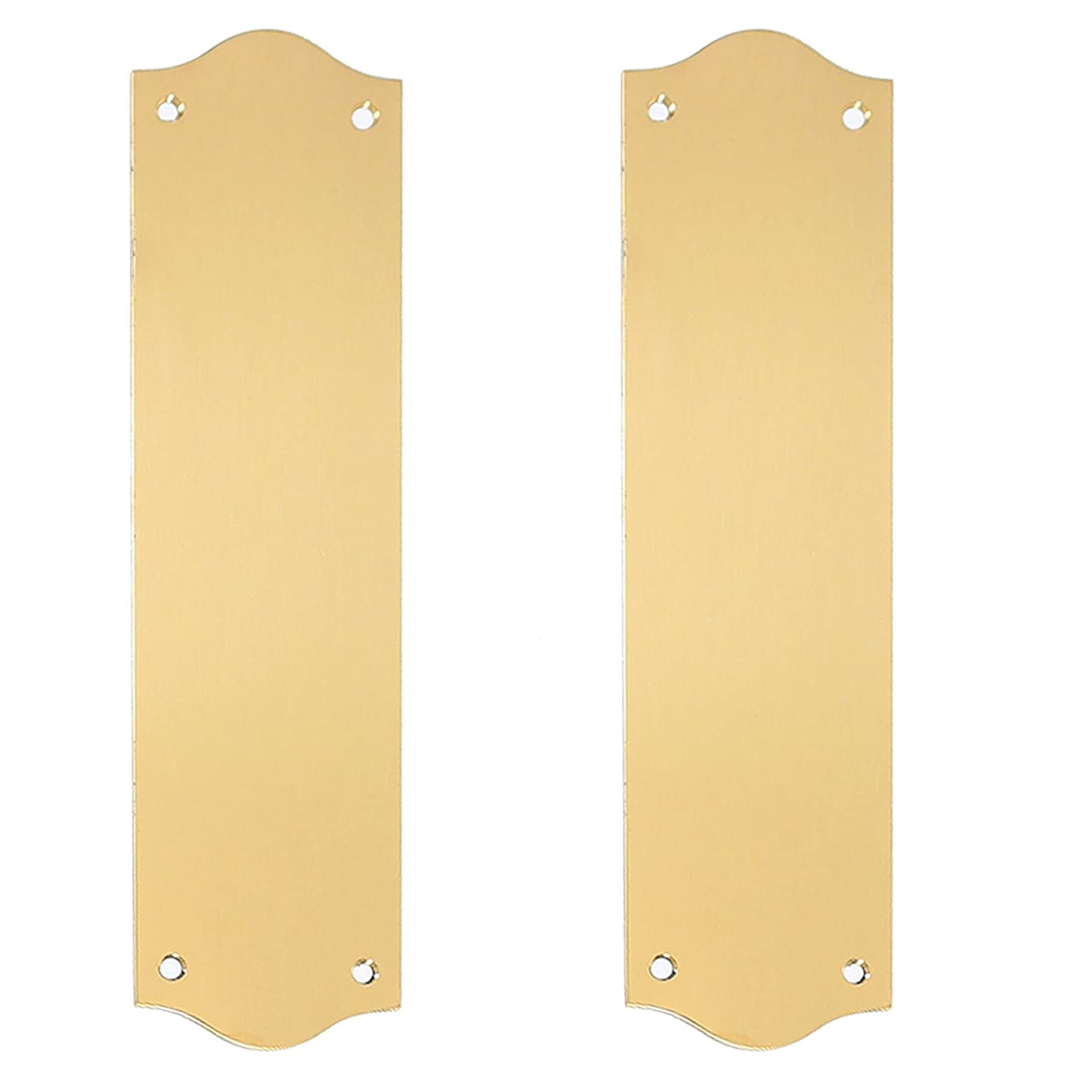 2x Polished Solid Brass Victorian Style Door Pushes - Regency Fingerplates White Hinge