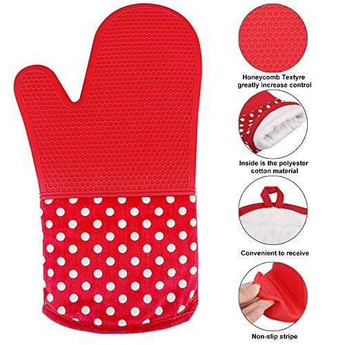 KEDSUM Heat Resistant Silicone Oven Mitts, 1 Pair of Extra Long Potholder Gloves with Bonus 1 Pair of Mini Cooking Pinch Grips, Non-Slip Cotton Lining Kitchen Glove for Baking, Barbeque, Red by KEDSUM (Image #1)