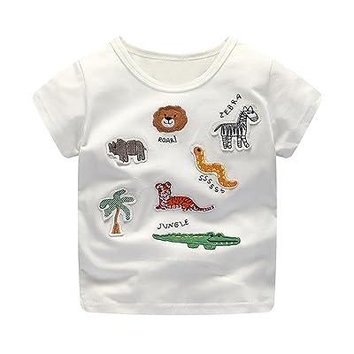 AliveGOT Kids Boys Girls Stripe Cartoon Print T Shirts Baby Short O-Neck Sleeve Shirts Tops Outfits