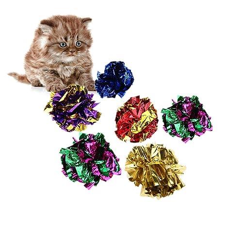 Matefielduk Pelotas de Arrugas para Gatos Juguete para Gatos Bolas de Anillo de Mylar Colorido Brillante