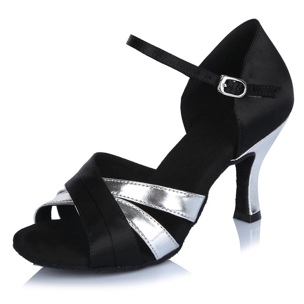 HIPPOSEUS Womens Satin Latin Dance Shoes Ballroom Salsa Tango Performance Shoes,Model AF406