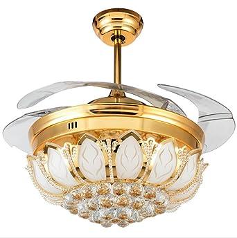 sinbrol Modern Oro Kristall-Form araña Fan Ventilador de ...