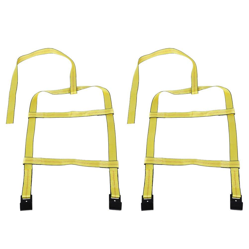 Estink Car Basket Straps, 2pcs Adjustable Car Tire Basket Straps Tow Dolly Wheel Net Set with Flat Hook for DEMCO Wheel Net Set