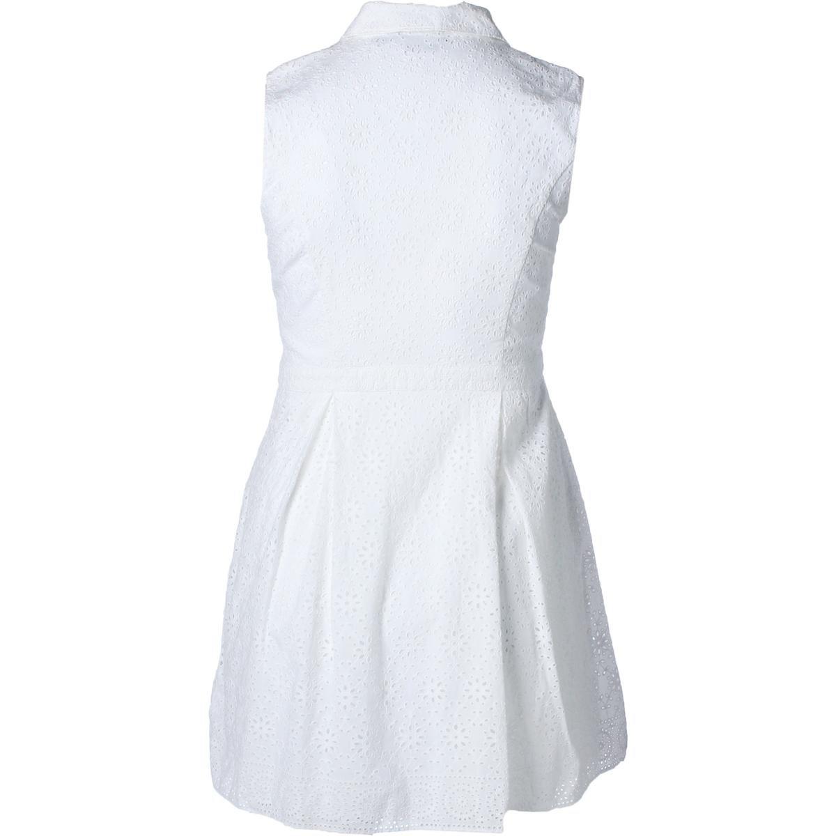 ae95348a8f9b LAUREN RALPH LAUREN Women s Cotton Eyelet Fit   Flare Pleated Shirt Dress