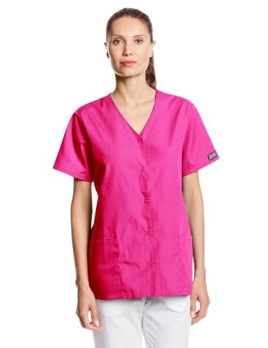 Cherokee Women's Workwear Snap Front V-Neck Scrubs Shirt, Shocking Pink, X-Large