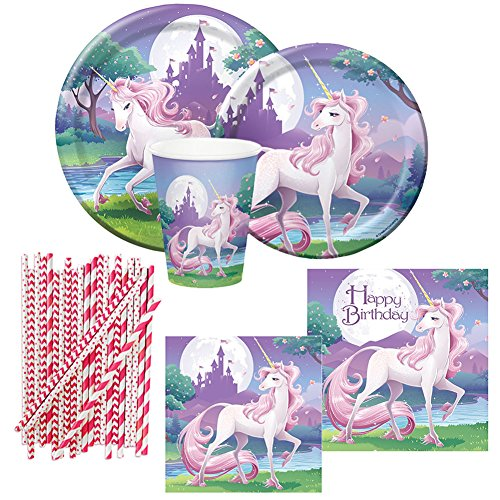 Unicorn Fantasy Party Supplies Pack for 8 Guests Includes: Plates, Napkins, Cups, and Straws