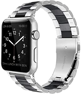 Fwheel Compatible with Apple Watch Band 42mm&44mm,Business Stainless Steel Replacement Strap with Double Button Folding Clasp Compatible with IWatch Series 5/4/3/2/1,Sport,Edition(Black&Silver42mm)
