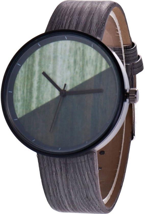 Grano de Madera Hombres jóvenes y Mujeres creativos Medio Color Amantes de Cuarzo Reloj Hombres Mujeres: Amazon.es: Relojes