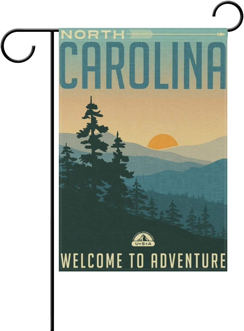 Double Sided 28x40 Inch Polyester Garden Flag Outdoor Yard Banner North Carolina Smoky Mountains for Home Decor