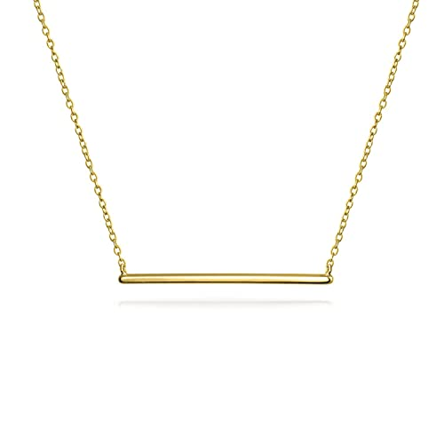 0d42640de56 Thin Minimalist Sideways Horizontal Round Station Bar Pendant Necklace For  Women For Teen 14K Gold Plated 925 Silver