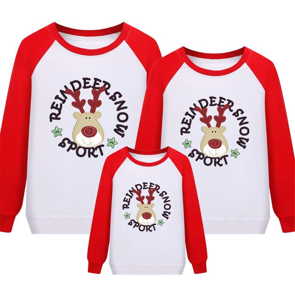 Frauen Sweatshirt Hoodie Eltern-Kind-Familie Einer Familie Von DREI Cartoon Elch Weihnachten Pullover Langärmeligen Dünnen Abschnitt Baumwolle Rundhals XL,Rote Schulter,Geeignet Für 130-140Cm Baby