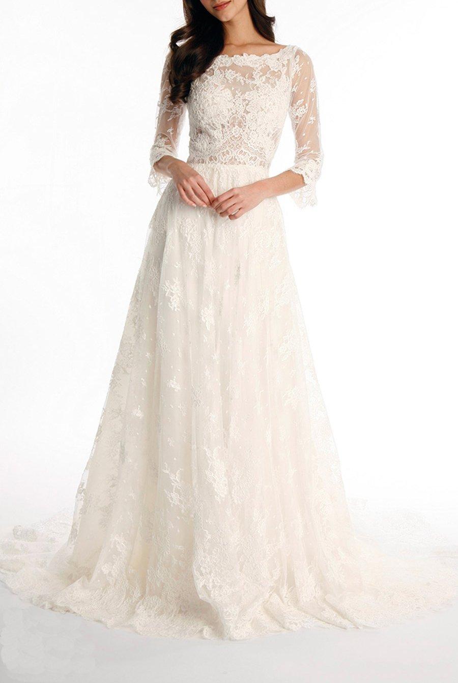 Tsbridal Lace Wedding Dress 2017 3/4 Sleeves Bohemian Wedding DressXC043-Ivory26