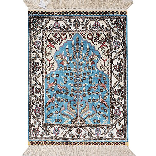 Yilong Carpet 1.5'x2' Small Hand Knotted Persian Pure Silk Rug Tree of Life Oriental Prayer Tapestry Handmade Carpet - Persian Silk Tapestry