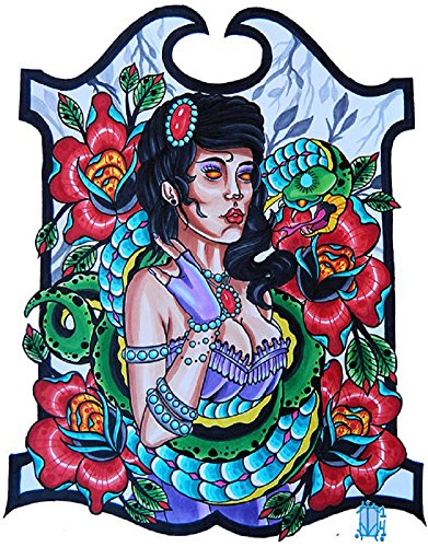 Snake Charmer Lady by Jon Leighton New Age Tattoo Flash Framed Wall Art Print ()