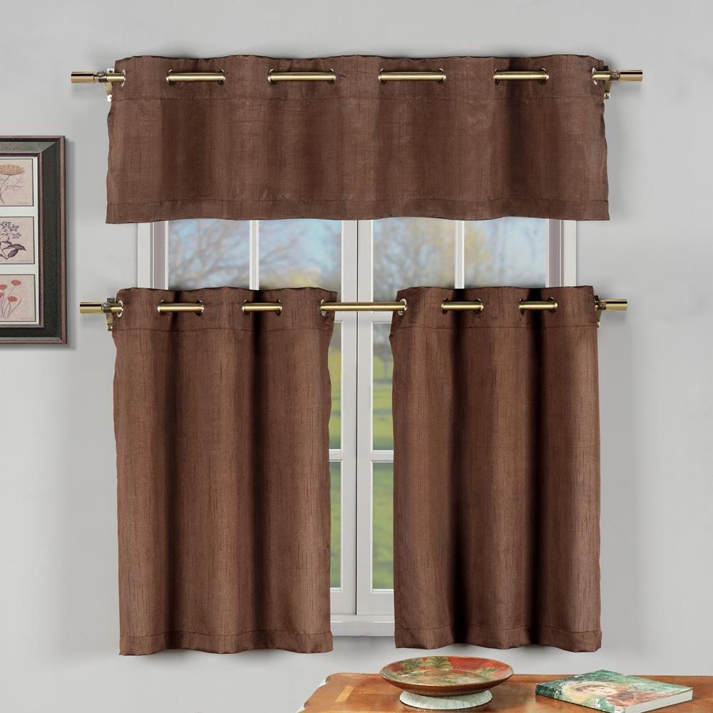 Duck River Textile -  Agnes Solid Faux Silk 3 Piece Kitchen Window Curtain Tier & Valance Set, 2 Tiers 30 x 36 & One Valance 60 x 16 - Brown