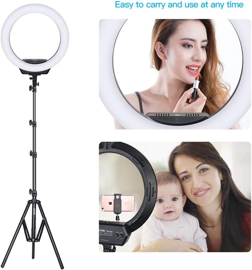 Carrying Bag for Camera,Smartphone,YouTube,Self-Portrait Shooting 16 Ring Light ZOMEi Ring Light Kit:16//40cm Outer 38W 3200-5500K Dimmable LED Ring Light Light Stand