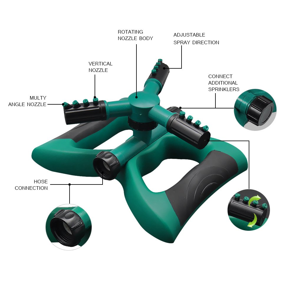 BTSD-home Lawn Sprinkler Automatic 360 Degree Rotating Garden Sprinkler with 3 Arms and Metal Weighted Base, Adjustable Tandem Irrigation System (Green/Black) by BTSD-home (Image #3)