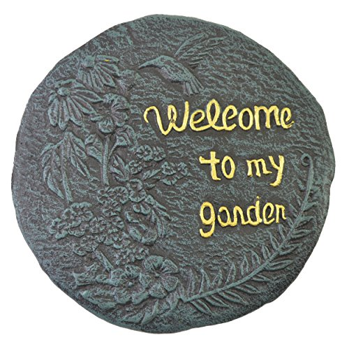 Import Wholesales Welcome to My Garden Hummingbird Stepping Stone Plaque Cast Iron Yard & Garden Decor
