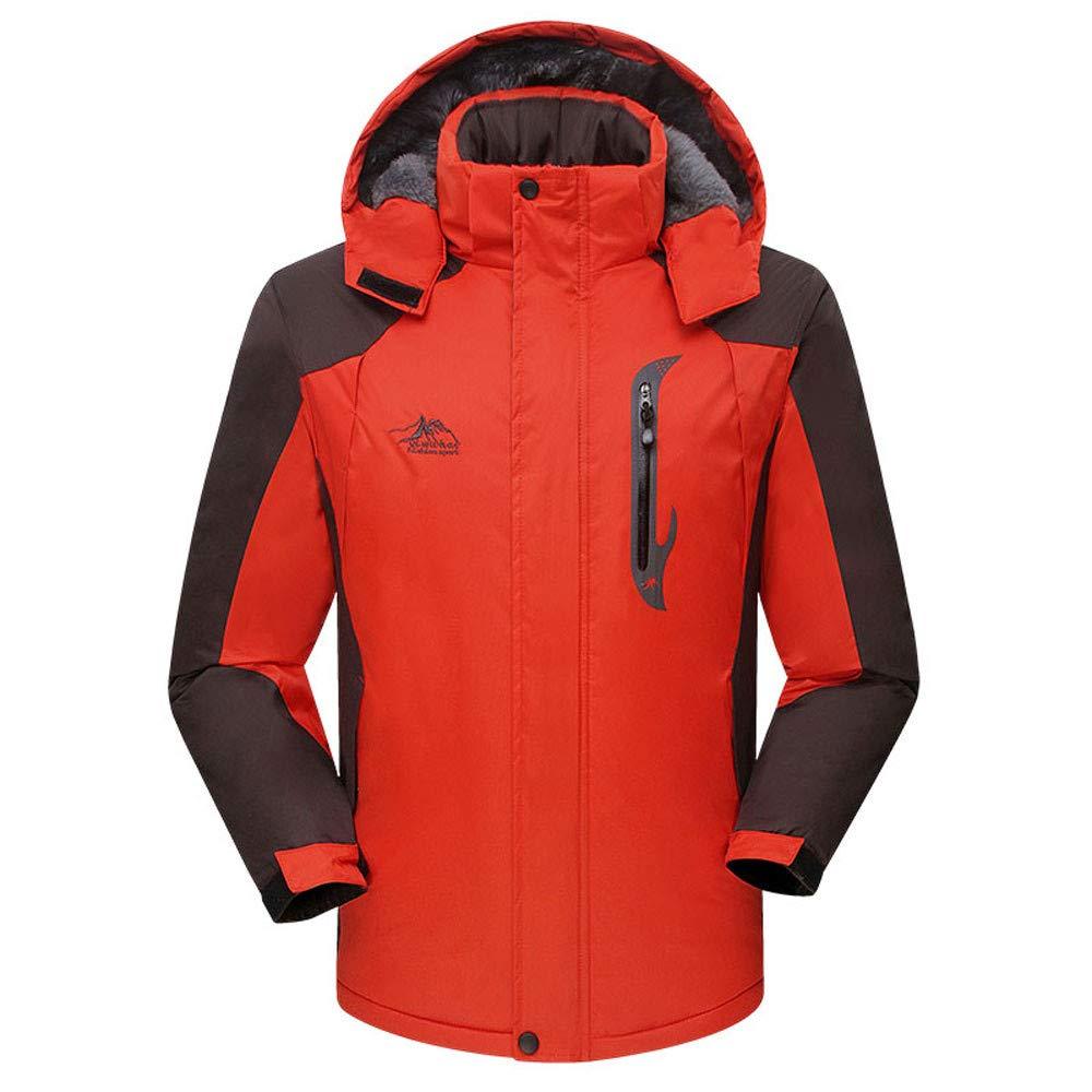 orange XLarge Ennglun Mens Trench Coat,Men's Winter Long Padded Velvet Thickened Outdoor Sports Coat,Black Windbreaker