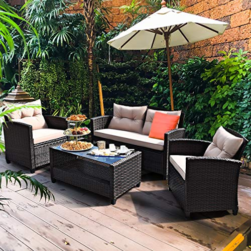 Tangkula 4-Piece Patio Furniture Set, Rattan Wicker Chair Set with 1 Loveseat, 2 Single Sofas, 1 Coffee Table with Tempered Glass Top, Outdoor Furniture Sets for Backyard, Porch, Garden and Poolside