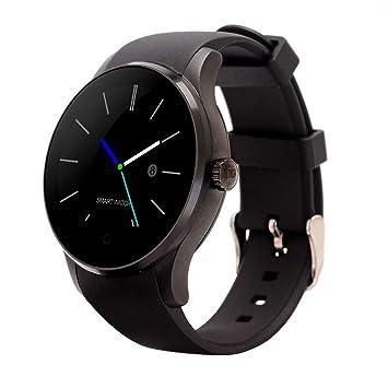 Reloj Inteligente Disco Control de la frecuencia cardíaca Movimiento de monitoreo del sueño Cuenta Paso Reloj K88S (Negro, Dorado, Blanco) (Color : Black): ...