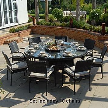 Charmant Belle Meubles De Jardin En Rotin Seaford (1.8 M 10 Places Table Ronde En  Rotin