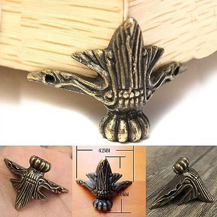 4X Antique Brass Jewelry Gift Box Wood Case Decorative Feet Leg Corner Protector