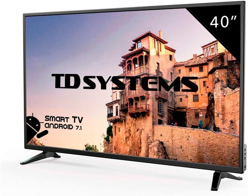 Televisor Led 40 Pulgadas Full HD Smart, TD Systems K40DLM8FS. Resolución 1920 x 1080, 3X HDMI, VGA, 2X USB, Smart TV.