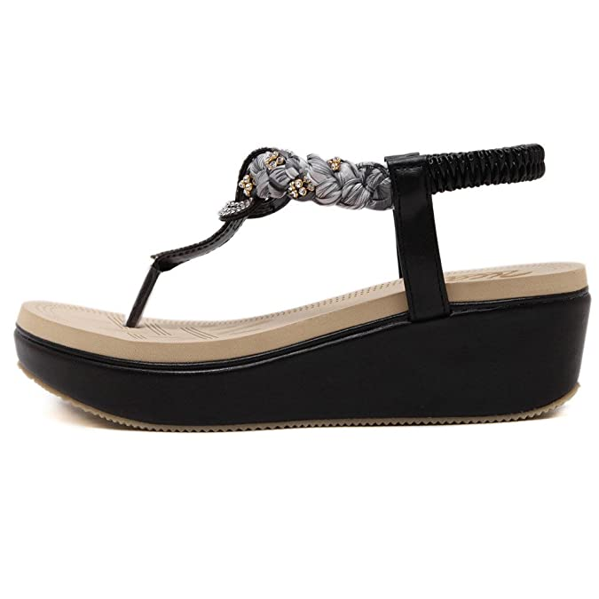 Zoerea Damen Sandalen Böhmischer Stil 5 cm Absätz Schuhe Sommer Sandalen Frauen Flip Flops Zehentrenner(Schwarz,EU 37)