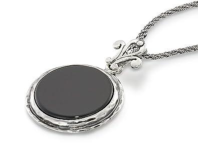 3719653bb38 Retro Style Round Black Onyx Pendant 925 Sterling Silver Necklace Unique  Design Women s Jewelry