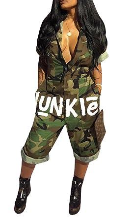 a148356a3fb6 Amazon.com  Ermonn Womens Camo V Neck Front Zipper Letter Print Short Sleeve  American Flag Jumpsuit Shorts  Clothing