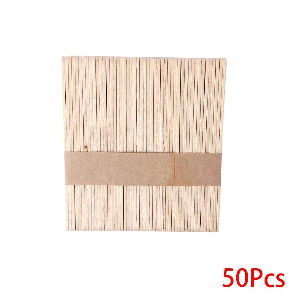 Timlatte 1Set 50PCS Holz Waxing Wax Spatel Zungenspatel Einweg-Bambus-Sticks Kit